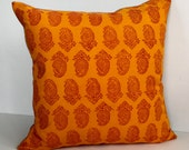 """Pillow 18""""x18"""" -  Orange and Red Paisley Hand Block Printed 100% Cotton Fabric From South India.  Available With or Without Down Insert."""