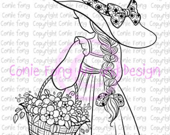 Digital Stamp, Digi Stamp, Spring Flowers by Conie Fong, Coloring Page, girl, flower, basket