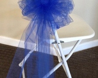 PEW BOW ROYAL Blue  Sold In Sets Of 6 Great For Banquet Chairs Premium Tulle