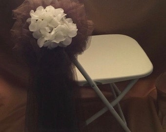 FOLDING CHAIR BOW  Brown Sold In Sets Of 6 Featuring White Silk Flowers