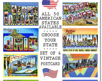 Vintage North Carolina Postcard, #4 N-S, Set of 4, CHOOSE Your Favorite USA State, Group Four N-S, Postcards of the United States