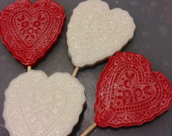 12 hearts (6 red and 6 white) cupcake toppers or to put on your cake