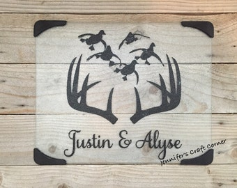 Hunting, Hunting Gifts, Glass Cutting Board, Kitchen Decor, Hunting Decor, Duck Hunting, Hunting Gifts, Country Decor, Country Girl