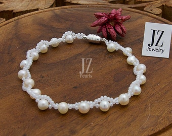 Freshwater  Bridal Pearl Bracelet intertwined with Czech Pearl seed beads and fastened with a Magnetic Clasp. Love. Bridal Gift.