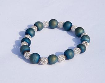 Druzy agate geode beads  sterling silver  beads bracelet
