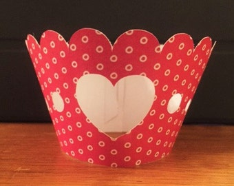 Cupcake Wrappers Dark Pink Heart Set of 12