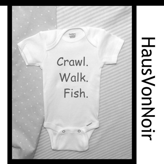 Crawl Walk Fish baby bodysuit baby fishing clothes by