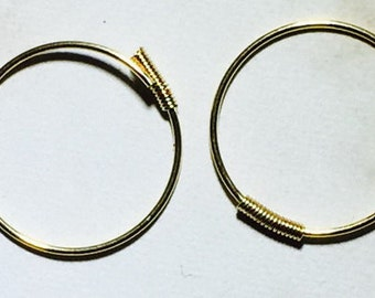 14 Karat Yellow Gold Endless Hoop (with coil) 14mm in Diamentor .5mm wire  Free Shipping