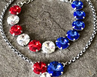 FOURTH FIREWORKS American flag Swarovski crystal jewelry set