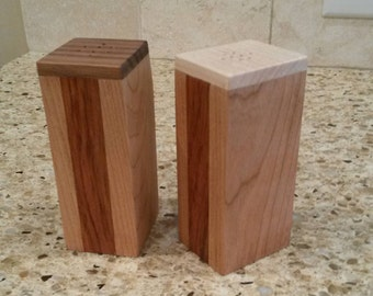 Hand Crafted wood salt & pepper shakers