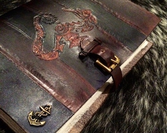 A5 leather notebook - seahorse nautical theme