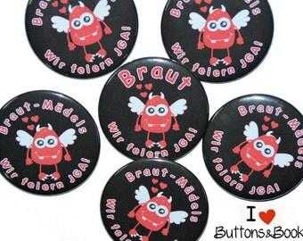 10 x JGA buttons hen party Devil Angel Monster sweet