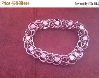 ON SALE Vintage Sterling Double Link Heart Bracelet perfect base for charms!