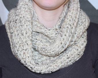 Oatmeal crochet infinity scarf