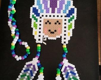 Kandi, Custom Plur Warrior Perler Kandi Necklace