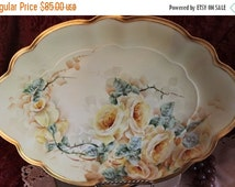 "End Of Summer SALE Antique M.Z. Austrian Hand Painted 14.5"" Serving Platter -  Yellow Roses, Victorian"