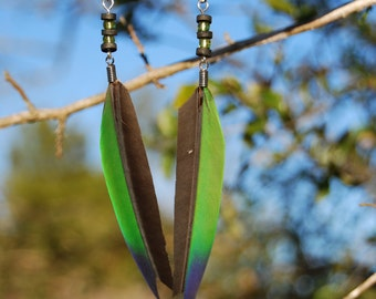 Color-Blocked Feather Earrings
