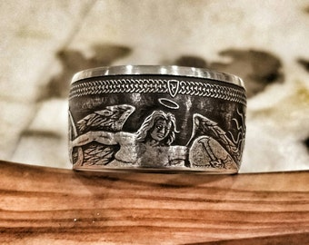 """2015 (Better Year) Isle of Man Silver Angel """"Good Luck"""" Ring - Hand Forged Pure Silver Coin Ring - Good Luck Ring - Angel Ring - Angel"""