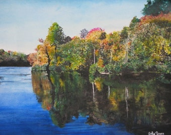 Blue Ridge mountains fall nature scene reflection landscape watercolor painting print