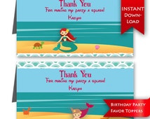 Mermaid Birthday Party Favor Toppers   Editable to add message & name {instant download}