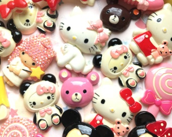 Mix Cartoon sweet resin cabochon for decoden Big XXL Size craft supplies | Kawaii deco Sweet deco cabochons set