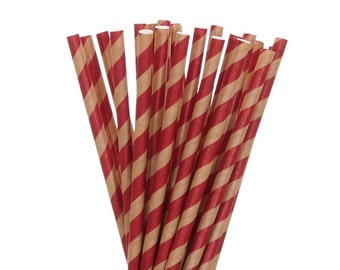 Paper Straws, Kraft Paper and Red Striped Paper Straws, Rustic Wedding Straws, Vintage Paper Straws, Little Man Party Supplies, Red Straws