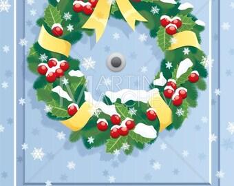 Christmas Front Door Clipart wreaths for front door   etsy