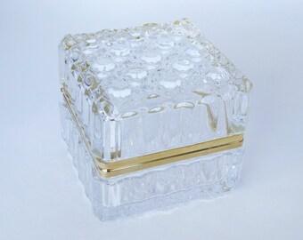 Vintage Italian Crystal Jewelry Box, Vintage Crystal and Gold HingedTrinket Box