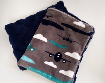 Pair of Blue Grey Airplane Minky Baby Comforters, Lovey, Snugly, Security Blanket
