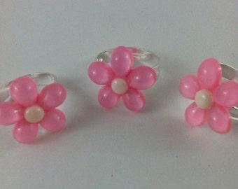 Pink flower ring adjustable