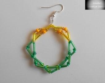 SALE 60% Beaded earrings, Hoop earrings, Square earrings, Spring jewellery, Gift for her, Women's jewellery,