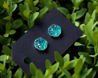 Teal w/ Silver Crown Edge Druzy Stud Earrings - Great Bridesmaid Gift!