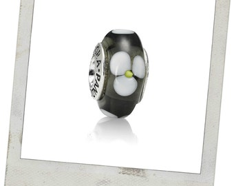 New! Authentic Pandora Sterling Silver Black Flower Murano Glass Charm # 790604 With Gift Pouch
