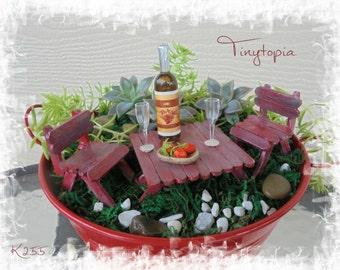 Miniature Wine & Strawberries Table Setting Terrarium  Fairy Garden Kit