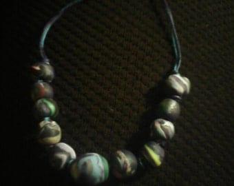 Rainbow on Black Beaded Bracelet