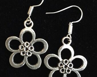 Handmade Tibetan Silver Flower Earrings
