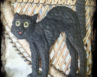 Vintage Halloween RARE Arched Black Cat Diecut Germany 1920's UNCOMMON!