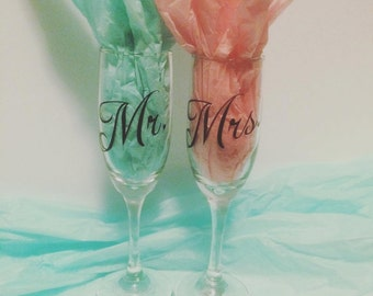 Set of Mr. and  Mrs. Champagne Flutes