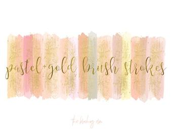 Brush Stroke Clipart, Acrylic Brush Strokes, Gold Brush Strokes, Clipart, Hand Painted Brush Strokes, Pretty Clipart