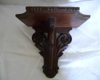 Carved oak wood wall console. Former.