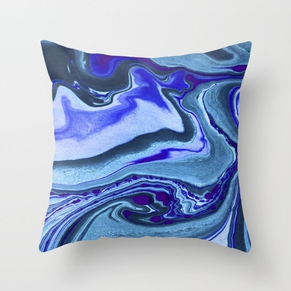 Blue throw pillows blue marble swirl vibrant blues soft