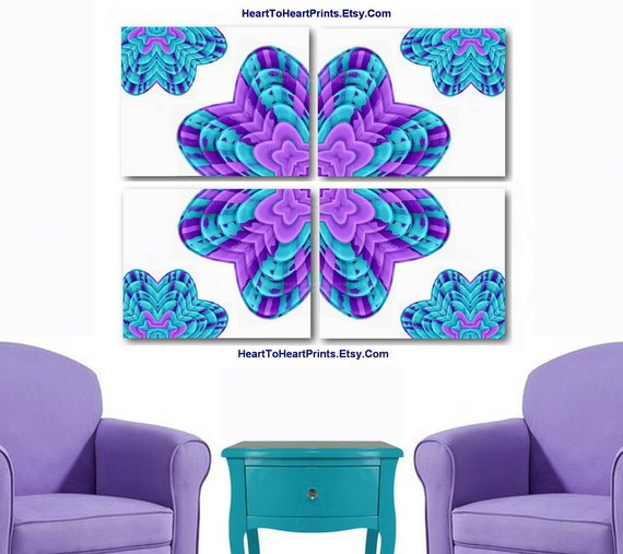 Purple And Yellow Kitchen Wall Art Unframed Kitchen: Items Similar To Teal Purple Abstract Flowers Wall Decor