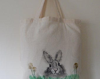 Hand painted black rabbit tote bag