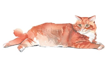 Red Ginger Tabby Cat Clipart  Hand Painted Watercolor Digital Print Files Clip Art Instant Download Images Pictures Art Commercial Use