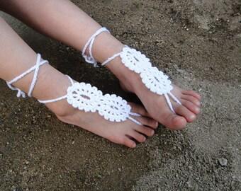 White Flower Girl Baby Barefoot Sandals Beach Wedding