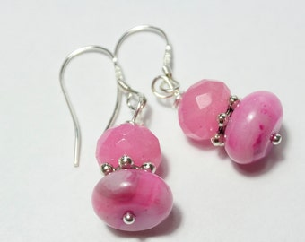 Pink Crazy Lace Agate and pink Jade Earrings