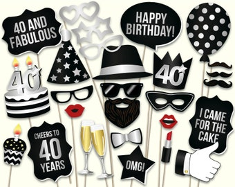 40th birthday photo booth props: printable PDF. Black and silver Forthieth birthday party supplies. Instant download Mustache, lips, glasses