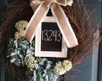 Custom House Number Wreath