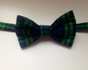 Green and Navy Plaid Flannel Bowtie