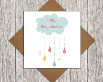 Happy Baby Shower Card - Baby Shower Card - Card For Baby Shower